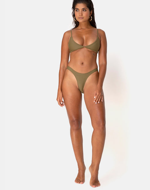 Valda Bikini Bottom in Matte Khaki by Motel