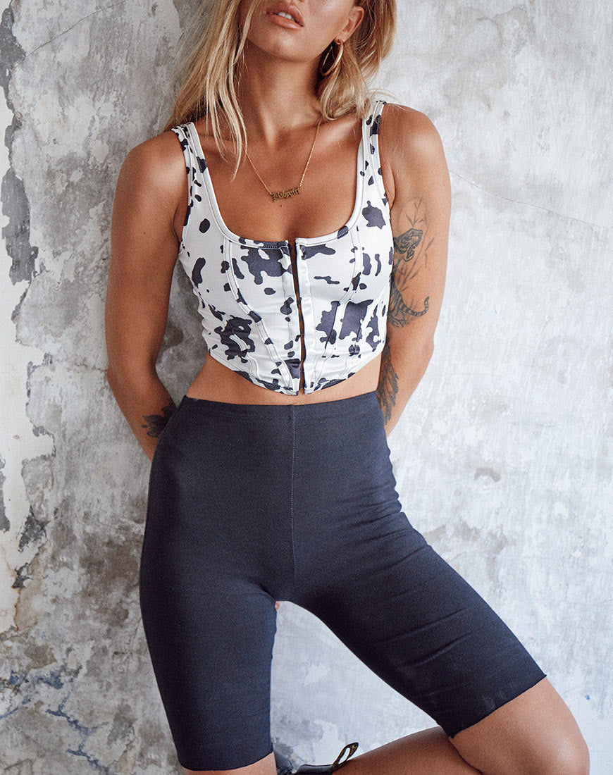 Elci Corset Top in Dalmatian Black and White by Motel 8