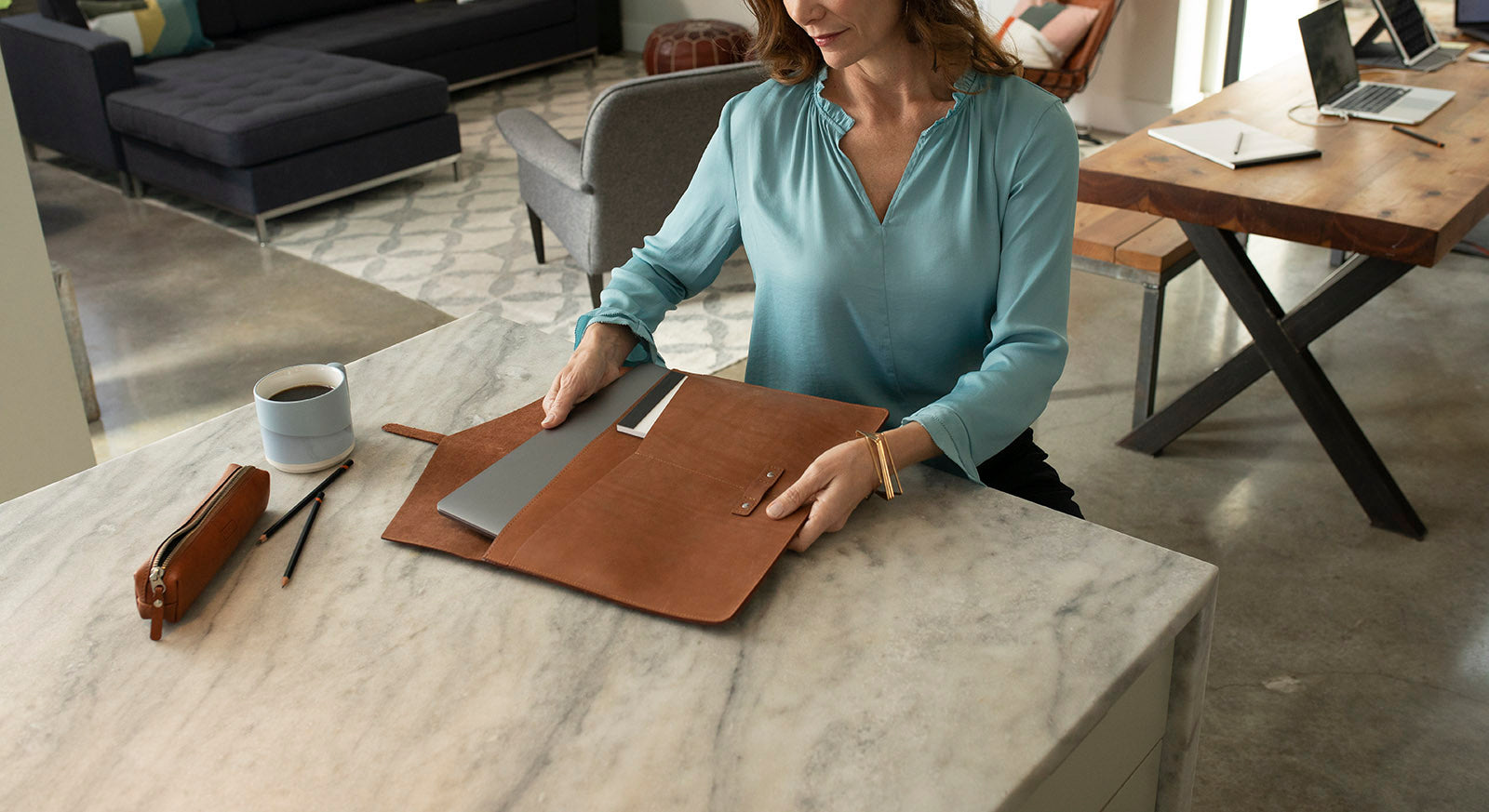 Slate Collection - The BELLTOWN™ Laptop Sleeve - Small - Cognac