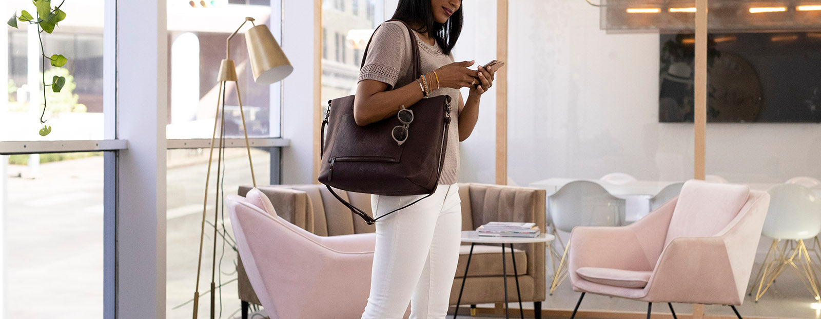 Slate Collection - The SUMNER™ Crossbody Tote - Pebbled Dark Chocolate