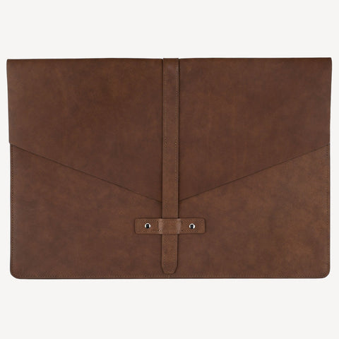A front view of The BELLTOWN™ Laptop Sleeve - Brown