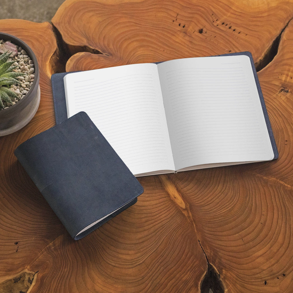 aerial view of The MERCER™ Refillable Journal - Small - Tan on a table