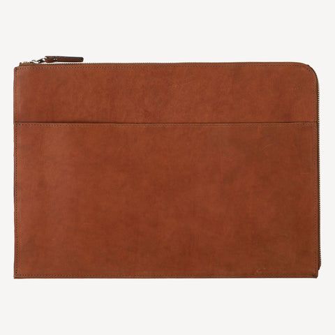 front view of The FREMONT™ Zip-Around Pouch - Large - Tan
