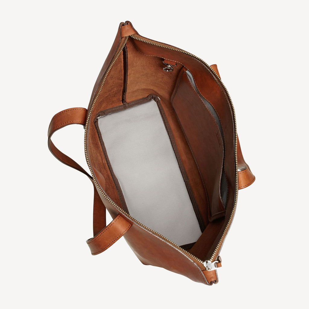 Top view of The BALLARD TOTE™ - Tan open showing it's storage capacity