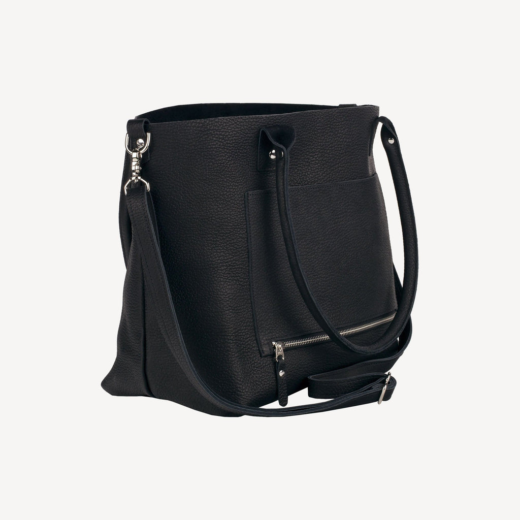 diagonal-side view of The SUMNER™ Crossbody Tote - Pebbled Black