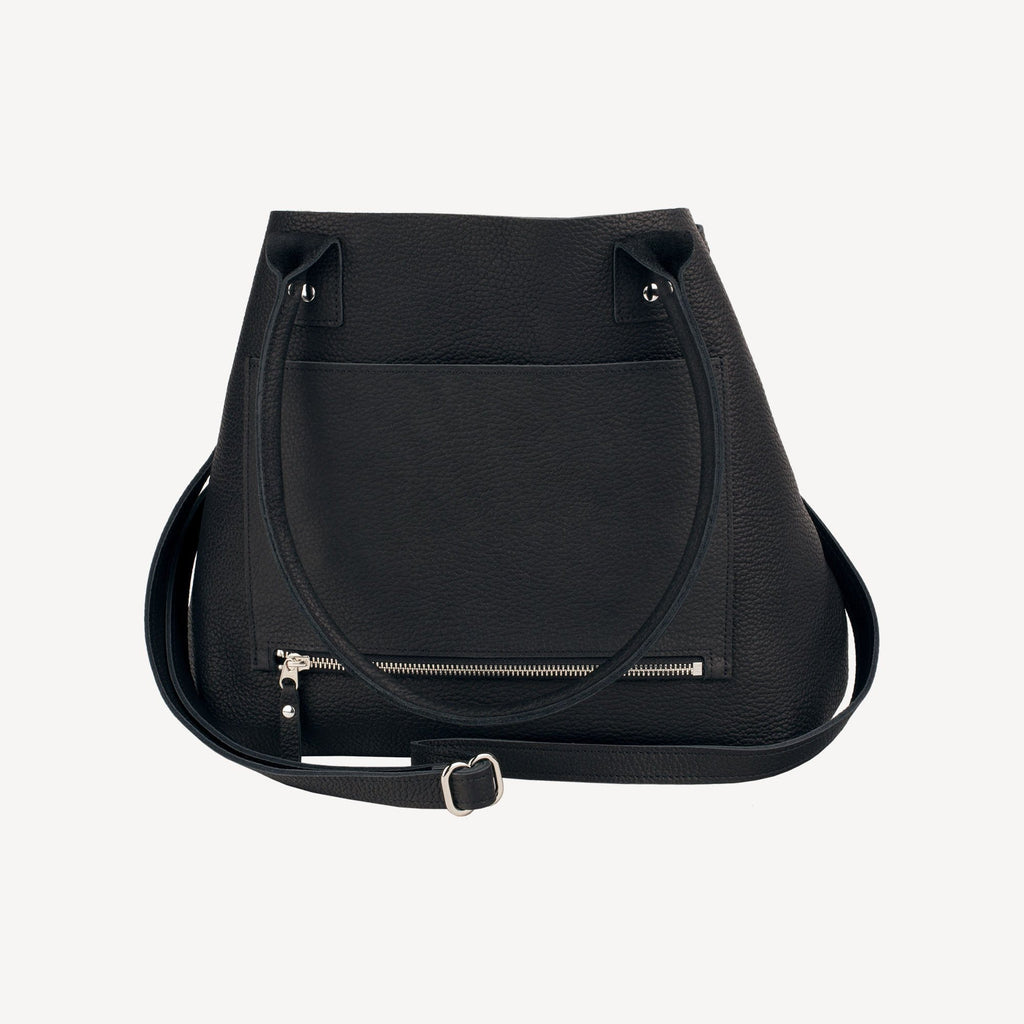 right-side view of The SUMNER™ Crossbody Tote - Pebbled Black showing the side pocket