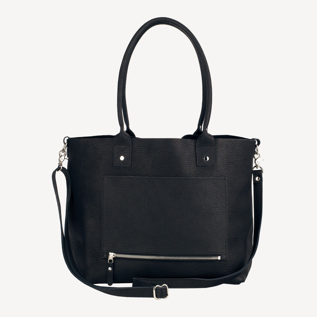 right-side view of The SUMNER™ Crossbody Tote - Pebbled Black showing the handle up