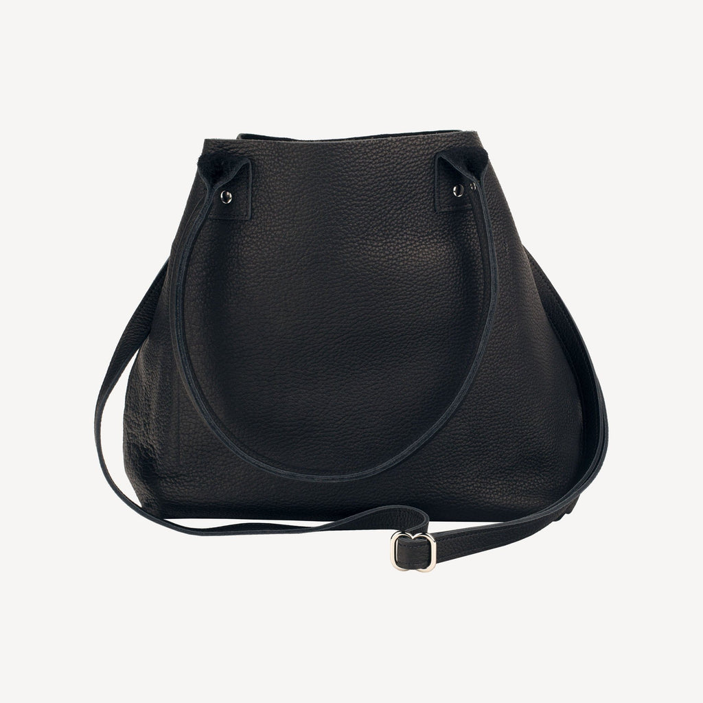 left-side view of The SUMNER™ Crossbody Tote - Pebbled Black