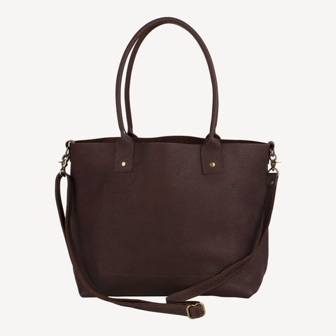 Front view of the The SUMNER™ Crossbody Tote - Pebbled Dark Brown