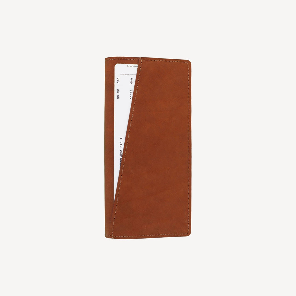 aerial view of The LAKEWAY™ Travel Wallet - Tan with contents inside showing storage capacity