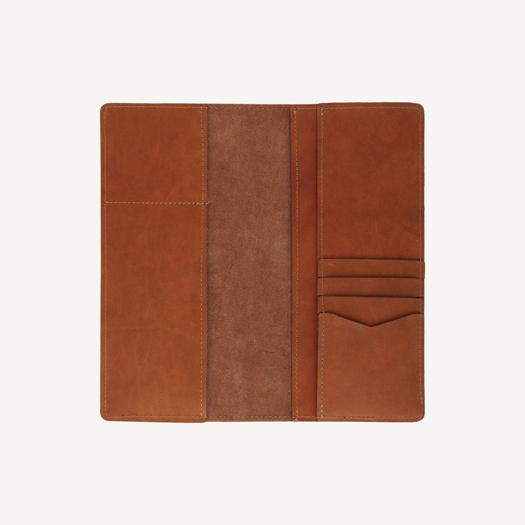 aerial view of The LAKEWAY™ Travel Wallet - Tan opened and empty showing storage capacity