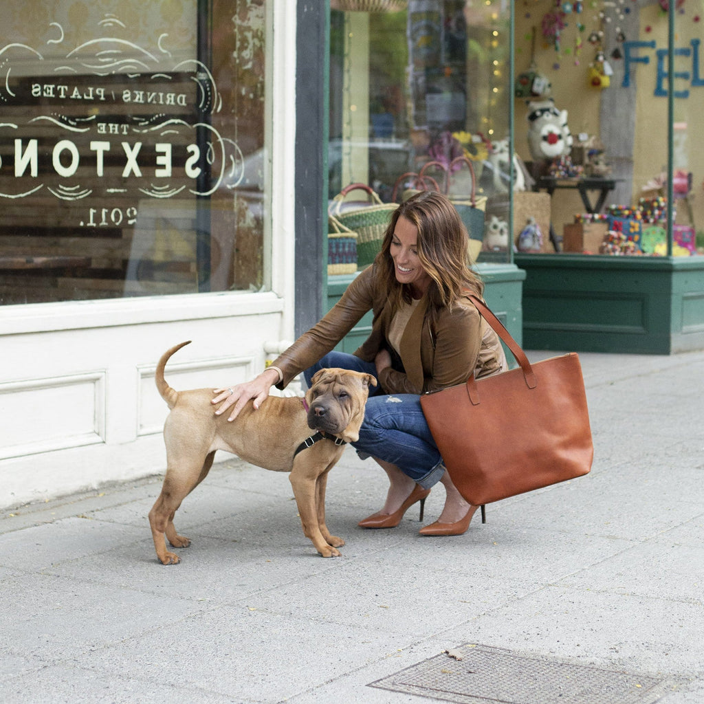 a woman holding The BALLARD TOTE™ - Tan and petting a dog