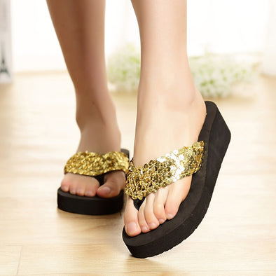 Mermaid Sequins Platform Slippers