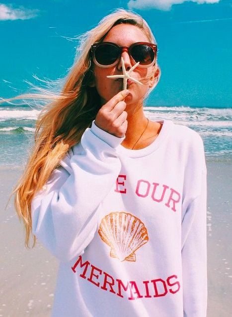 SAVE OUR MERMAIDS Print Sweatshirt