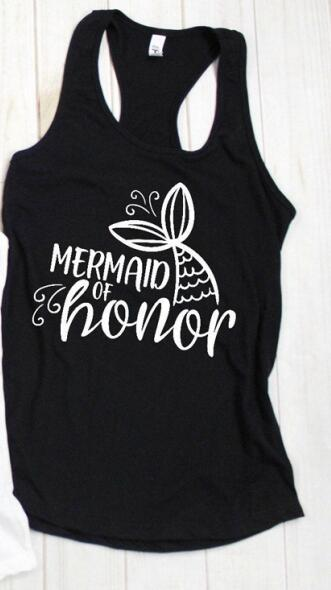Mermaid Bride and Mermaid Of Honor Racerback Tank Tops