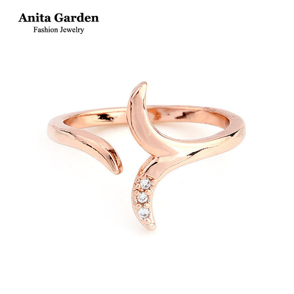 Fashion Crystal Mermaid Ring - Rose Gold Plated