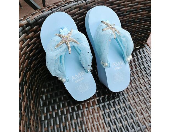 Platform Slippers with Starfish Bling