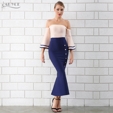 GONE SAILING - Strapless Mermaid Style Dress with off-the-shoulder bell sleeves
