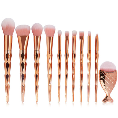 Mermaid Kabuki Cosmetics Brush Set - 11 pcs