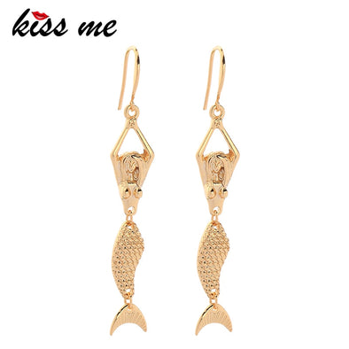 Mermaid Drop Gold Earrings