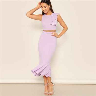 Mauve Ruffle Crop Top & Skirt Set