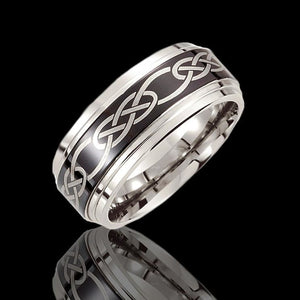 10mm Cobalt Celtic Wedding Bands With Black Laser Design