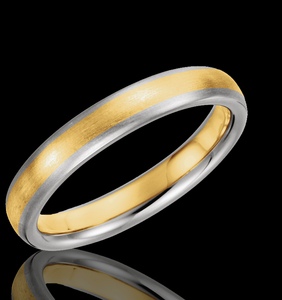 4MM Two Tone Gold Brushed Finished Designer Wedding Band - 1WeddingBand.com