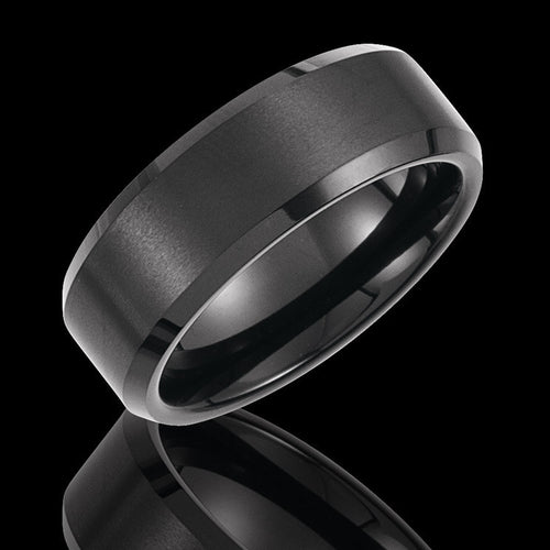 8.3MM Tungsten Black Immersed Plated Satin Finished Wedding Band - 1WeddingBand.com