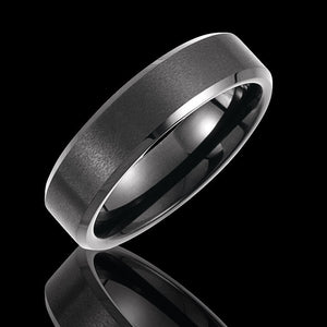 6.3MM Tungsten Satin Finish with Black PVD Wedding Band - 1WeddingBand.com