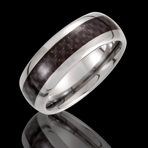 8.3MM Tungsten Domed Wedding Band with Carbon Fiber Inlay - 1WeddingBand.com