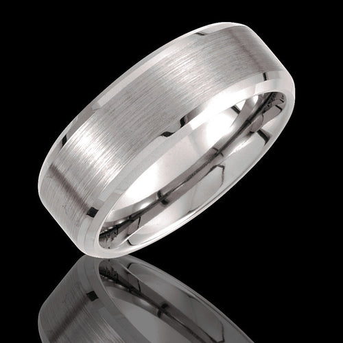 8.3MM Tungsten Beveled Edge Wedding Band with Satin Center - 1WeddingBand.com