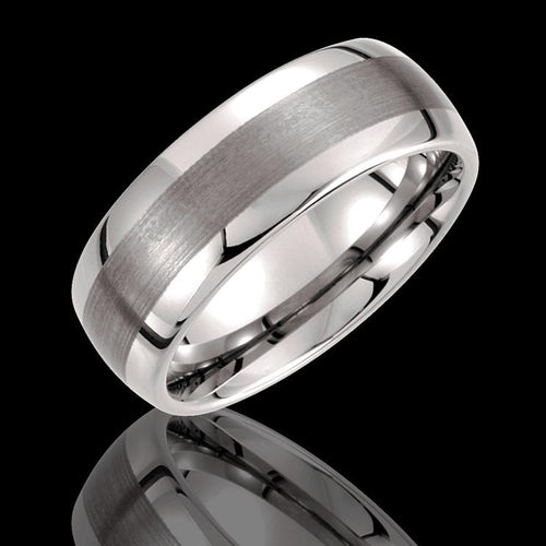 8.3MM Tungsten Rounded Edge Wedding Band with Satin Finish Center