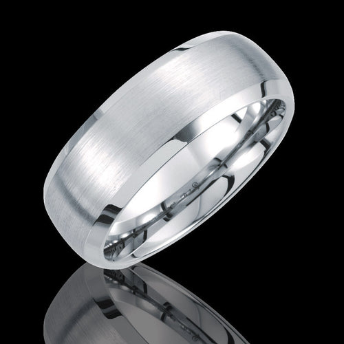 8.3MM Tungsten Beveled Band with Satin Finish Center - 1WeddingBand.com