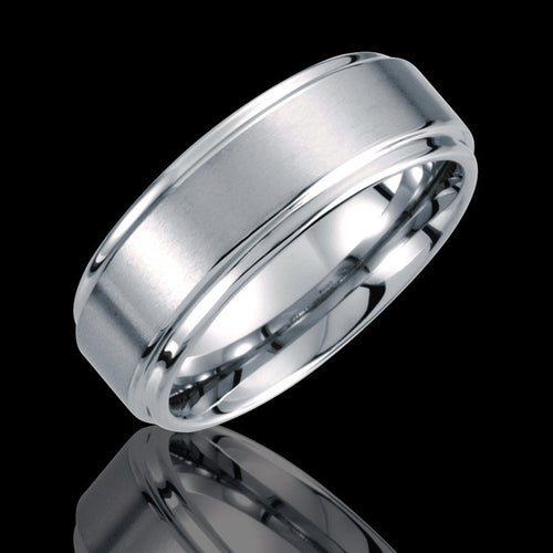 8.3MM Tungsten Ridged Band with Satin Finish - 1WeddingBand.com