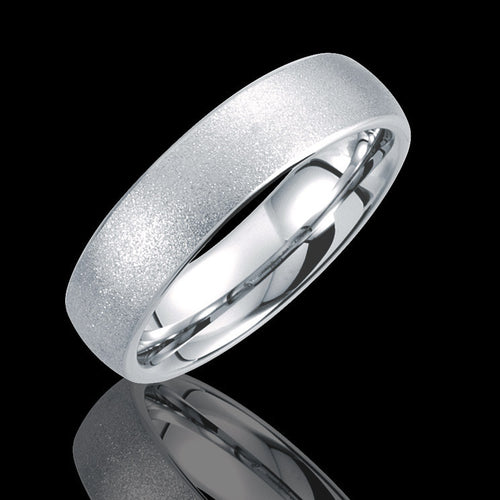 6.3MM Tungsten Rounded Edged Domed Sandblasted Wedding Band - 1WeddingBand.com