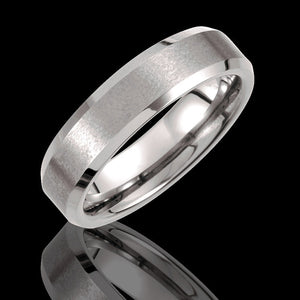 6.3MM Tungsten Flat Pipe Wedding Band with Satin Finish - 1WeddingBand.com