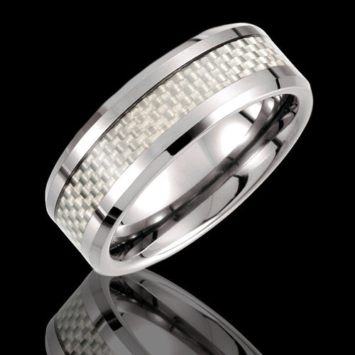 8.3MM Tungsten Beveled Edge Band with Carbon Fiber Inlay - 1WeddingBand.com