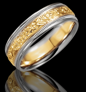 6.25MM Hand Engraved 14K White & Yellow Gold  Wedding Band - 1WeddingBand.com