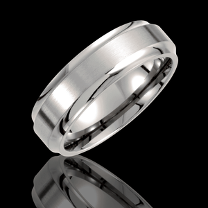7MM Titanium Ridged Wedding Band With Brushed Finished Center