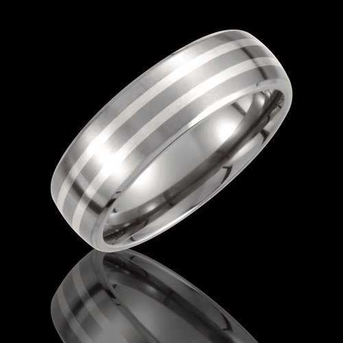 7MM Titanium & Sterling Silver Inlay Satin Finished Wedding Band