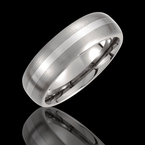 7MM Titanium & Sterling Silver Inlay Satin Finished Domed Wedding Band - 1WeddingBand.com