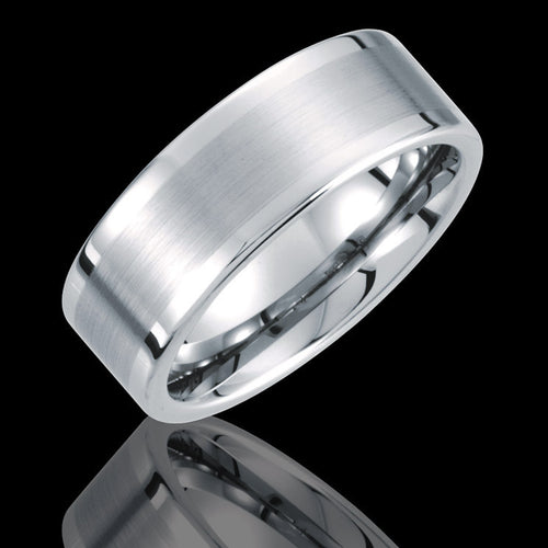 8.3MM Tungsten Flat Pipe Wedding Band with Satin Finish - 1WeddingBand.com