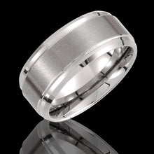 10MM Tungsten Ridged Wedding Band with Satin Finish Center - 1WeddingBand.com