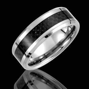8.3MM Tungsten Beveled Edge Wedding Band with Black Carbon Fiber Inlay - 1WeddingBand.com