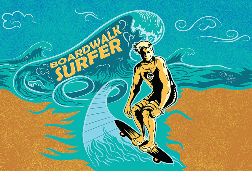 Boardwalk Surfer Craft Beer Label Art