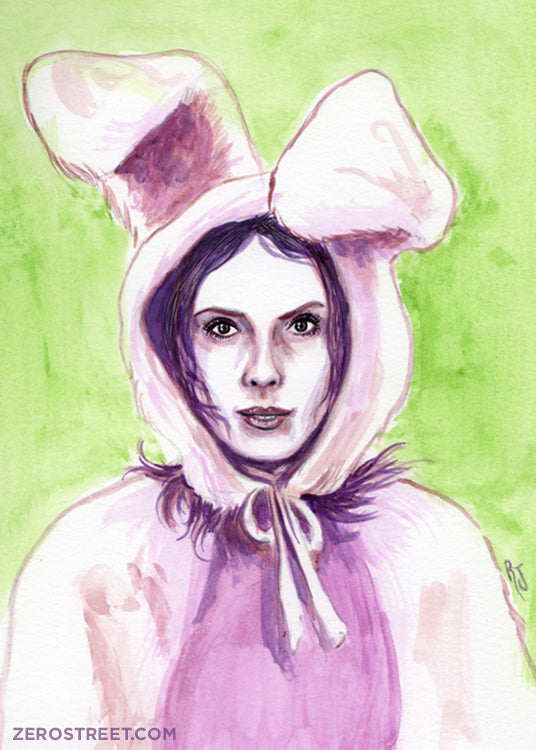 Illustration of Anya, from the TV show Buffy The Vampire Slayer, dressed as a bunny.