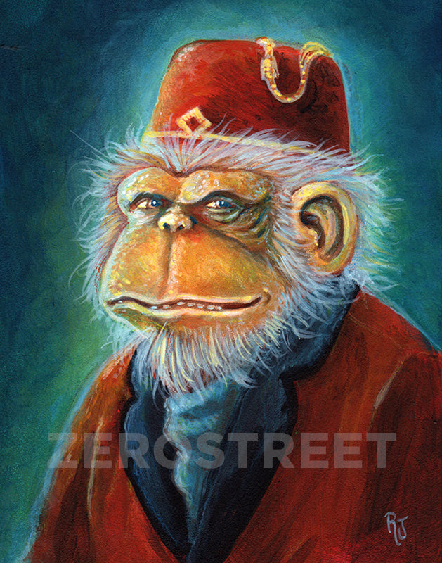 painting of an Chimpanzee in smoking jacket and fez