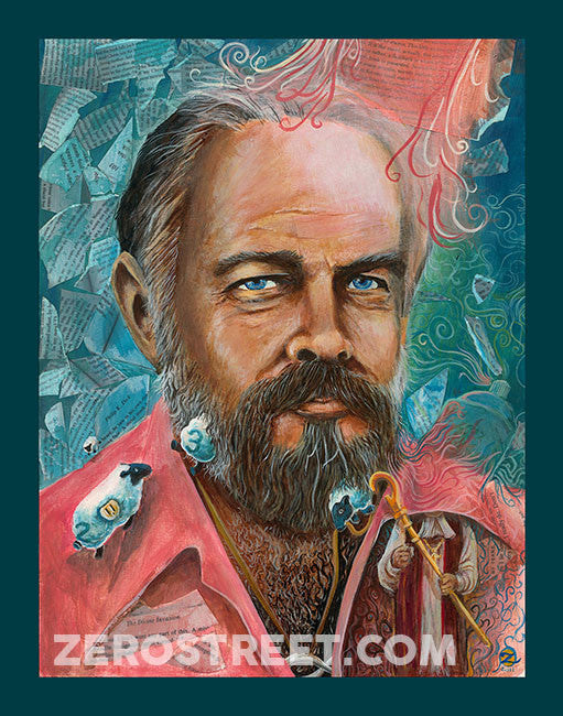 An acrylic portrait of Philip K Dick, science fiction author of Man In The High Castle, Ubik and more.