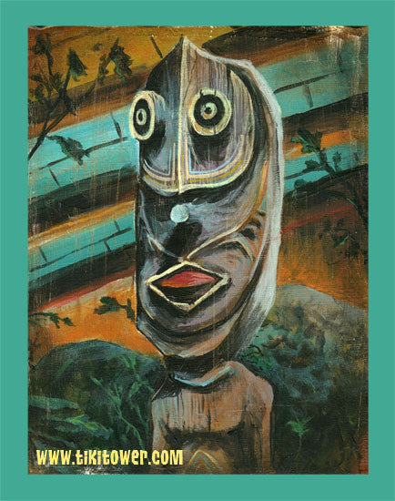Painting of a PNG Tiki located backstage at Ft Lauderdale's Mai Kai Restaurant