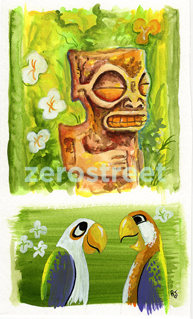 Tiki And Bird Study - Original Art